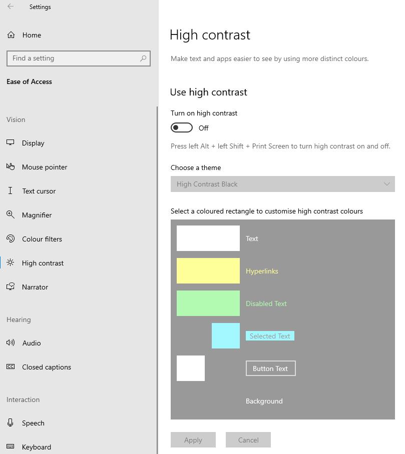 Windows Turn On High Contrast mode